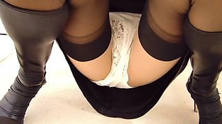 black leather miniskirt stockings and panties