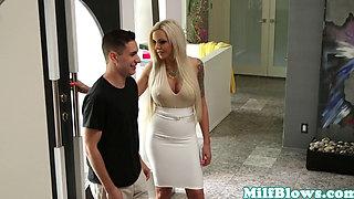 Pornstar Nina Elle fucks cock between bigtits