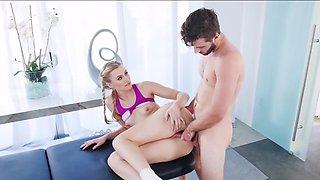Slim blonde interrupts yoga to have fun with boyfriend