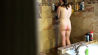 Spying after neighbor's wife as she takes a shower
