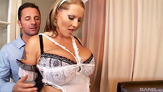 Thick French maid with massive titties gets fucked