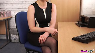 Sex-starved secretary Princess Paris is masturbating her pussy in the office