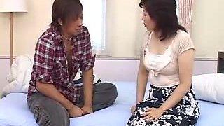 Hot mature Japanese girl with big tits sucks and fucks