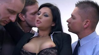 Slutty milf secretary gangbanged by her co-workers at the office