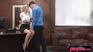 sexy blonde secretary chick gets quickie fucked at work