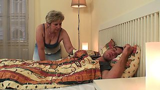 Mother inlaw wakes him up for cheating cock riding