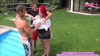 german big tits hardcore redhead teen 3some
