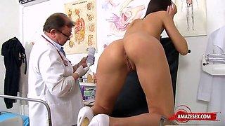Brunette doctor gaping and cumshot