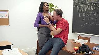 hot black teacher sucks big white dick in class