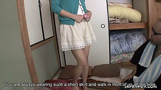 A bit shy Japanese woman Juri Kitahara flashes her panties to dude