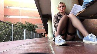 High stockings socks and schoolgirl upskirt from Capri