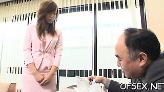 Fantastic looking secretary fucks the brains out of her boss