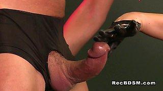 Bdsm dude gets anal fingered fetish dominatrix