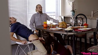 Cum-thirsty brunette Lexi Lore gives a great blowjob under the table