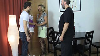 Mature mom seduces sons GF into family sex