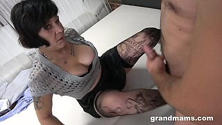 Mature amateur grannies love to have sex with a younger stud