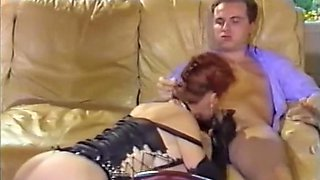Naughty short haired European vintage chick rides dick with her asshole