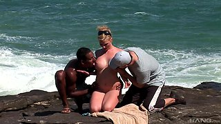 Amazing interracial threesome on a beach with hot babe Tarra White