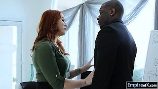 Bushy redhead Edyn Blair slammed by monster black cock