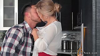 step mom sucks teens bf cock in kitchen
