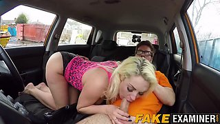 blonde milf with huge tits slammed hard inside the car