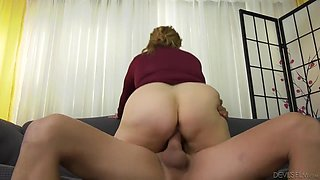 Stockinged Hot Plump Granny Spreads Her Legs For A Big Cock - On The Couch