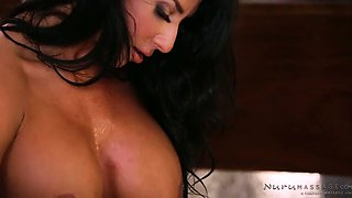 Damn good dark haired Raven Hart rides dick instead of erotic massage