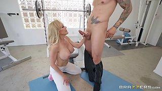 busty brandi love on her knees is sucking alex legend's cock