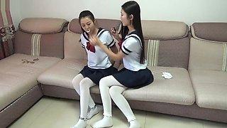 Playful schoolgirls