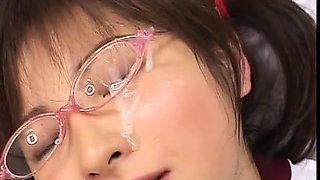 Kinky Japanese babes get their faces covered in hot sperm