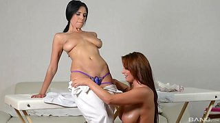 Lesbian massage leads to sex between Sheila Grant and Kira Queen