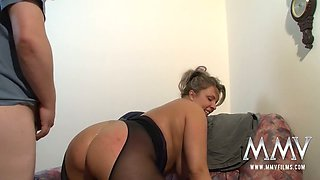 Chubby chick wearing crotchless pantyhose gets her plump pussy fucked in different positions