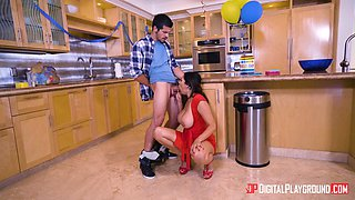 missy martinez sucks her daughther's boyfriend in the kitchen