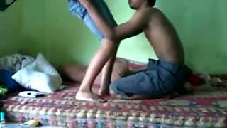 Young dude eats and fucks his Nepali girlfriend on the bed