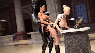 3d animation lesbians having futa sex in a musemum