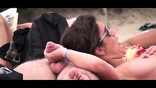 Naughty amateur wife delivers a sensual handjob on the beach