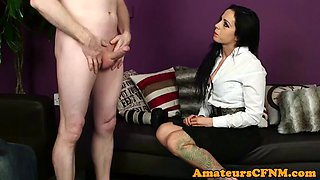 classy cfnm milf blows cock with passion
