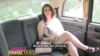 Female Fake Taxi Office worker gets a busty surprise from blonde cabbie
