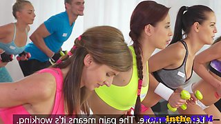 Sporty redhead pussytoyed by lesbian babe
