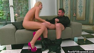 Long legged real slut with blond hair Vanda Lust rides strong cock on top
