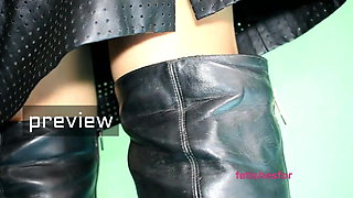 Handjob by fetish wife in the morning, cum on leather boots