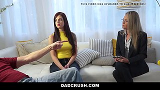 Daughter and stepdaughter fuck for family therapist