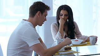 Busty sexy babe Valentina Nappi is poked missionary on the table