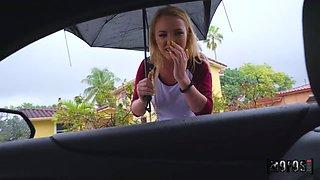 Stranger passenger Dixie Lynn gives her head and gets fucked hard