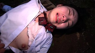 Sweet Asian schoolgirl fucked deep and rough in the outdoors