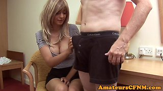 British CFNM babe wanks off best friend