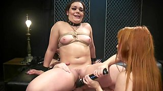 Teen blows lesbians' minds and make them double penetrate her