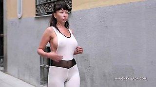 Revealing catsuit. cameltoe in public