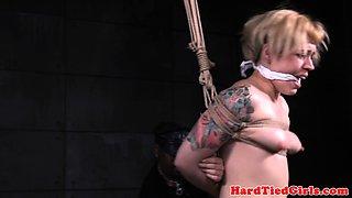 Tattooed slut gets punished in strappado form