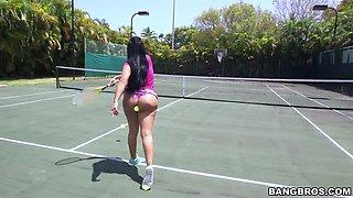 kiara mia letting her big tits bounce around the tennis court